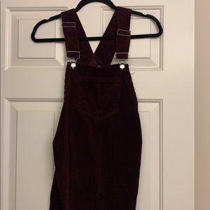 Maroon Corduroy Overall Dress